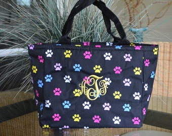 Lunch Tote, Insulated, Paw Print, Monogrammed