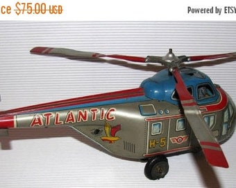 ON SALE Vintage NIKKO Kogyo Tin Helicopter Atlantic H-5 1950's Japan