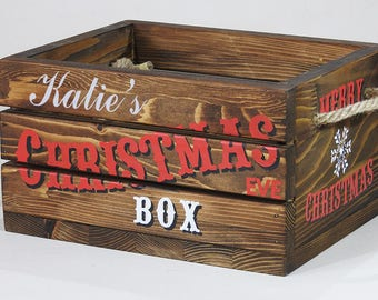 Large big  Christmas Eve Box Crate Personalised Rustic Vintage style crate Christmas present Gift Children family