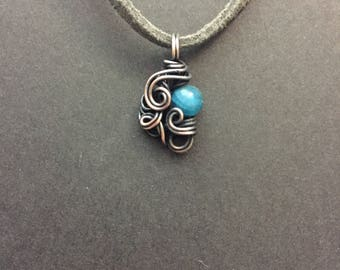 Apatite Copper Wrapped Pendant Necklace