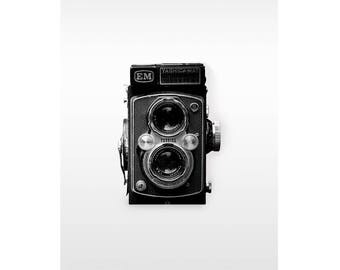 Vintage Objects Wall Art, Black and White Camera Photography, Black and White Camera Print, Black and White Art Print