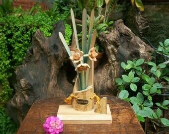Japanese Vintage Bamboo Craft Echizen Narcissus Flower Souvenir Bamboo Craft