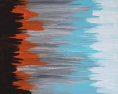 "Orange, Blue, Black, Gray and White Original Acrylic Abstract Painting on Canvas ""Series 5 XXV"" Wall Art, Home Decor, Artwork, Carl Dunn"
