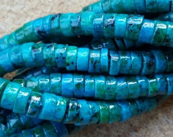 "Natural Chrysocolla Rondelle Beads, Dyed Dark Cyan, 6.5mm x 2.5mm - 15"" Strand"