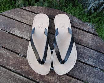 Hand Made Greek Leather Sandal (Black , Natural Colour)