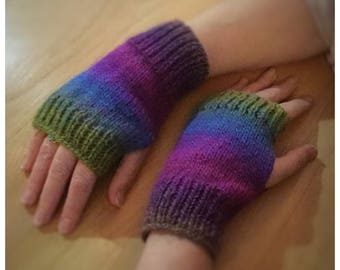 Fingerless gloves, Knitted fagan gloves, arm warmers various colours