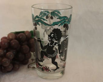 Vintage Shedd's Peanut Butter Glass Tumbler with Junge Scene, Palm Trees, Gorilla, Elf, and Native