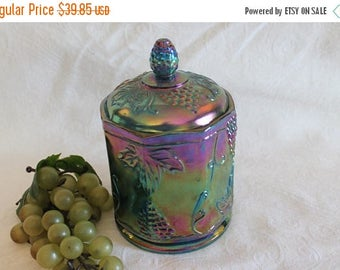 "Christmas in July Indiana Blue Carnival Glass 7"" Canister Jar - Harvest Grape Pattern"