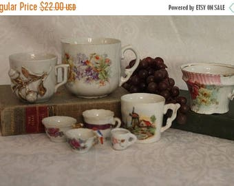 Christmas in July Collection of 4 Antique German Porcelain Tea Cups with 4 Miniature Tea Cups