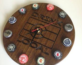 Colorado Breweries - Drink Local-  Beer Bottle Cap Custom Wall Clock