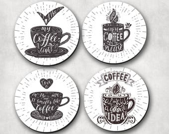 Coasters - Caffeine Lovers, Drink Coasters, Coffee Lover, Coffee Phrases, Hostess Gifts, Coaster (0006)