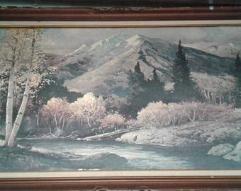 "Large Robert Woods Print on Canvas/Titled  ""White Mountainss And Aspens*"