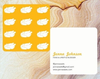Customizable Square Rotisserie Chicken Business Card with Round Corners | Moo.com Compatible