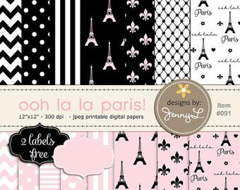 50% OFF Paris Digital Paper, Eiffel Tower Printable Digital Background Papers, Fleur, Pink and Black Paper for Birthday etc