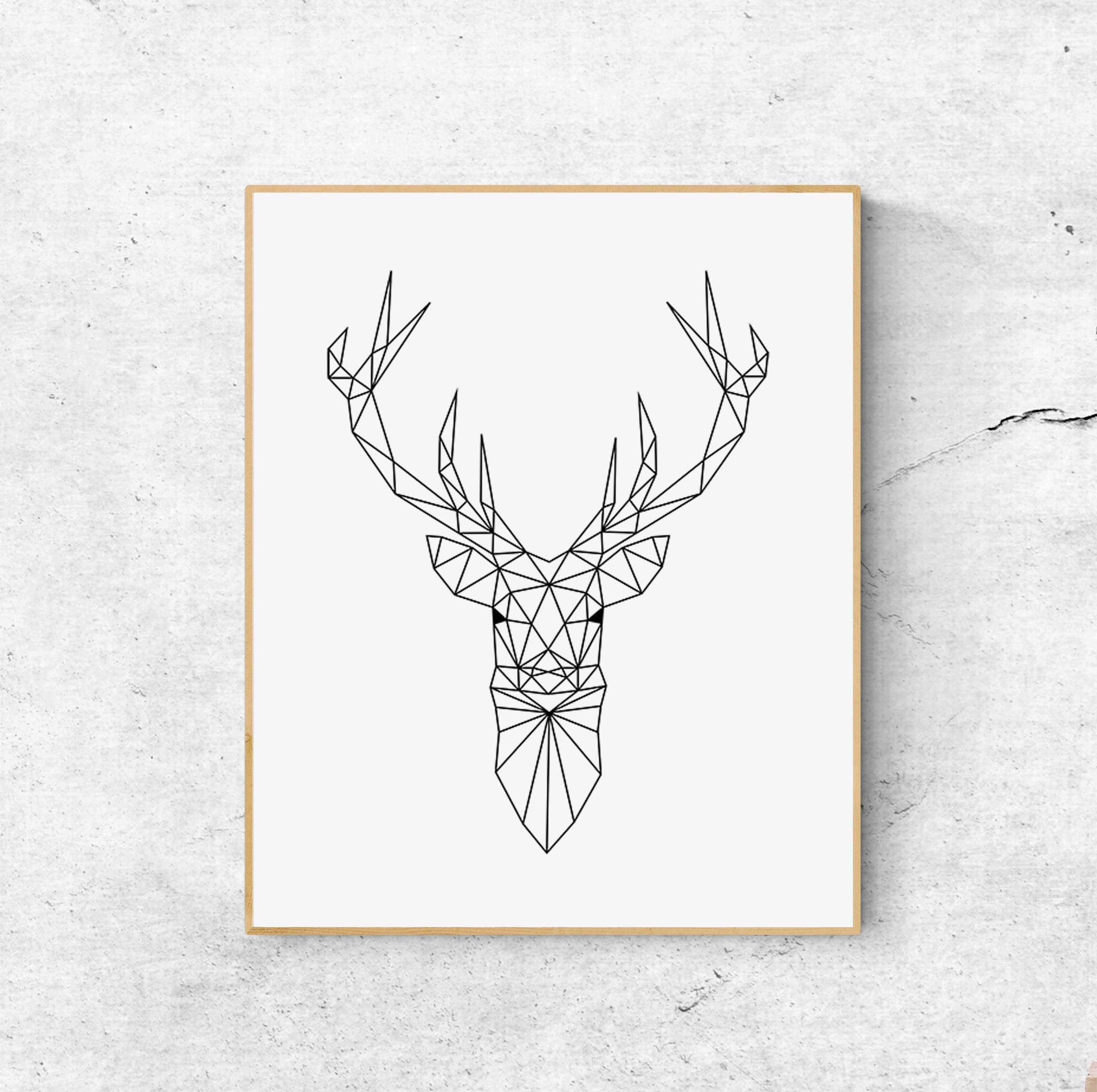 geometric deer print deer head print nursery print black