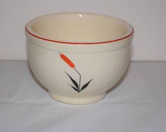 Small Bowl 1940's USA Universal Cambridge Red Cattail, Universal Pottery Cambridge, Ohio Pottery