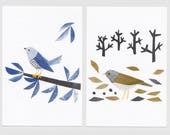 Cuckoo and Pale Thrush Postcards (from my 2017 calendar) - 4 sheets