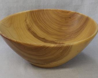 Large hand turned elm wooden salad bowl