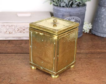 Vintage hammered brass box or storage caddy with lift off lid