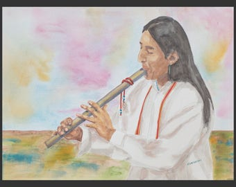 Spirit Flute - a watercolor painting