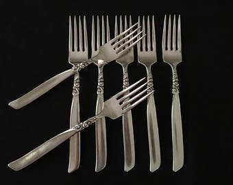 Oneida Community South Sea Dinner Forks Set of 7 Vintage South Seas Silverplate Dinner Forks