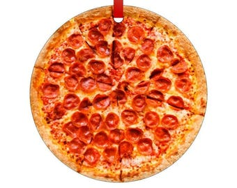 Pepperoni Pizza Double-Sided Round Shaped Flat Aluminum Christmas Holiday Hanging Tree Ornament with a Red Satin Ribbon. Made in the USA
