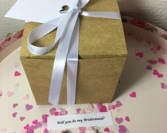 """Will you be my Bridesmaid """"Pop The question"""" box - maid if honour, flowergirl, page boy, best man, God Mother, Matron of Honor"""