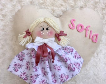 Birth bow-doll on heart with flower dress-medium size-baby-decorating bedroom
