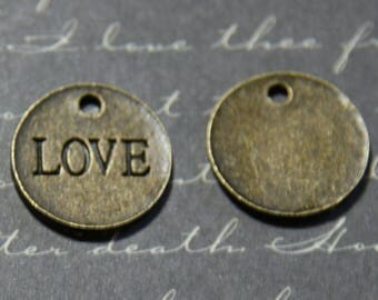 """2 round Medallion charms """"LOVE"""" metal color bronze 17mm"""