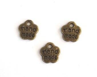 "mini 3 ""Handmade"" 8mm metal flower charms"