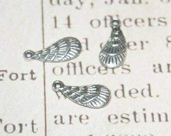 3 charms feather silver 21x10mm