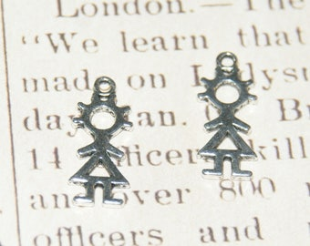 2 silver 23x10mm space girl silhouette charms