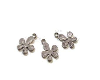 3 full 18x14mm silver metal flower charms
