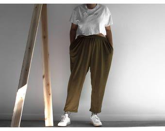 80s Olive Green Sweatpants / Lounge Wear / Sweats / Large-XXLarge