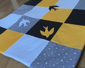 Mat of Park, awakening, yellow, white, grey patchwork with swallow set