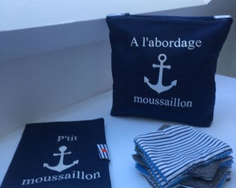Toiletry bag in Navy blue cotton sailor theme
