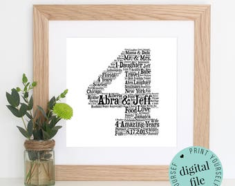 4th ANNIVERSARY GIFT - Word Art - Printable Gift - 4 Year Anniversary - 4th Wedding Anniversary - Word Art Gift - Personalised Gifts