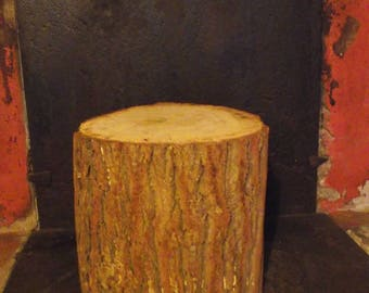 Wood end table log furniture nightstand