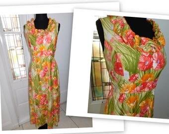Vintage Hawaiian Muu Muu Dress Hostess Maxi Dress 1970s Elfriede for Mitch Robert