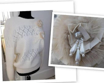 Vintage 80s Shabby Chic Fuzzy Lambswool Angora Ivory Orly Sweater Large Minty!