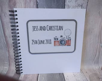 Personalised Wedding Photo Booth,  Guest Album, White Cover to Draw on, White Pages, 25cm x 25cm, 10 inch square, 84 sides 014-091