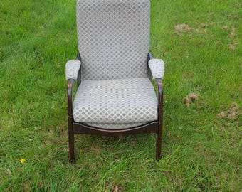 Vintage easy chair with padded arms high backed good webbing, believed to be by Cintique Danish style similar to Parker knoll