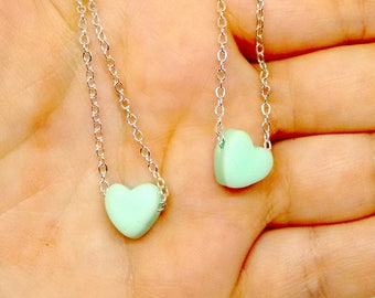 Matching doll and girl jewelry, 18 inch doll necklace, american doll accessories, clay heart necklace, mint necklace, twin jewelry,set of 2