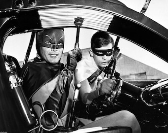 Adam West in BATMOBILE  , PHOTOGRAPH ..... star of the Batman Tv Show from the 1960 's  , the Batman Television Series
