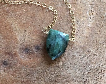 Emerald Necklace - May Birthstone Necklace - Gold Emerald Necklace - Genuine Emerald Necklace - Emerald Jewelry - Gift For Her