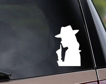 Female Detective Vinyl Car Decal - Mystery - Sleuth - Car Window Decal - Laptop Decal - Bumper Sticker