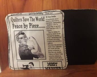 Set of 4 Quilt Newspaper Coasters