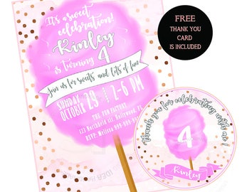 Cotton Candy Sweet Birthday Party-Custom Printable Invitation with FREE Thank you Matching Tag-DIY Digital File-Custom Birthday Invitation