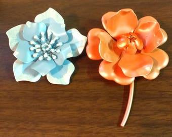 2 Vintage Enamel Flower Pins