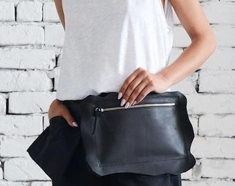 SALE Genuine Leather Black Clutch/Extravagant Mini Bag/Black Leather Tote Bag/Black Clutch Bag/Casual Handbag/Zipper Leather Party Bag/Mini